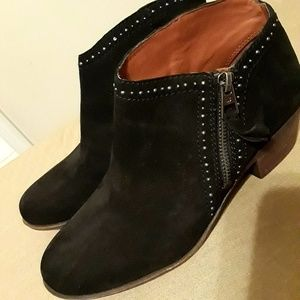 Lucky Brand Black Suede Studded Ankle Boots-size 7